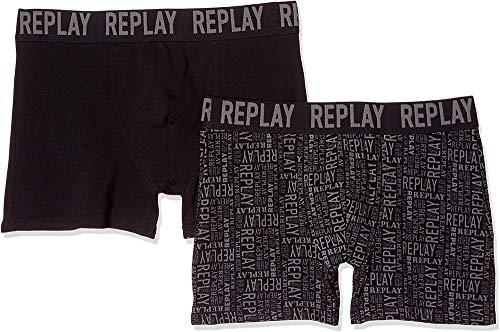 Replay Herren Cuff Logo + All Over Boxershorts, Schwarz/Castelrock, XL