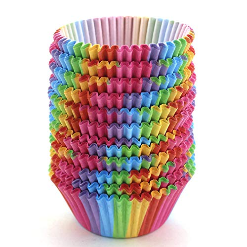 WARMBUY Rainbow Cupcake Papers Baking Cup Liners, 300 Pcs