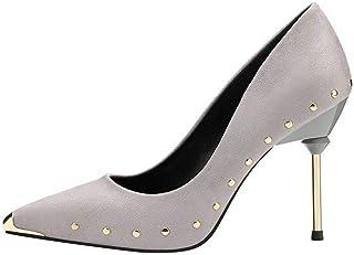 Ying-xinguang Shoes Fashion Thin Single Shoes Rivet Metal Women's Shoes Women's High Heel Comfortable