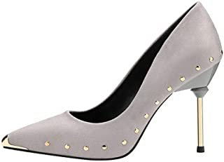 Ying-xinguang Shoes Fashion Thin Single Shoes Rivet Metal Women's Shoes Women's High Heel Comfortable