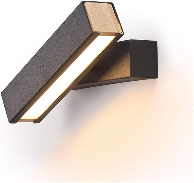 WYFLY Drehbare Aluminium Wandleuchte-Wohnzimmer Schlafzimmer Hotelzimmer Nacht Gang Wandleuchten (Farbe  Schwarz) -8W