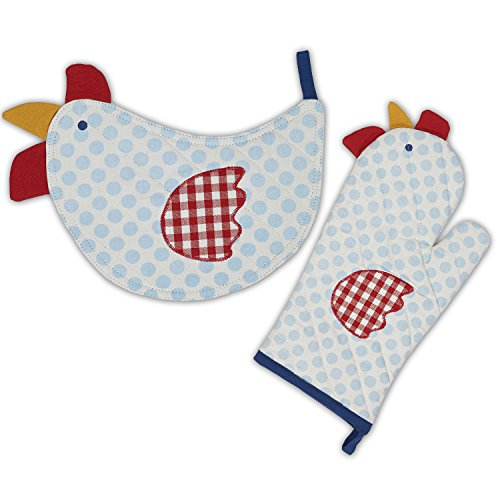 Chicken Lover Oven Mitt Potholder Set