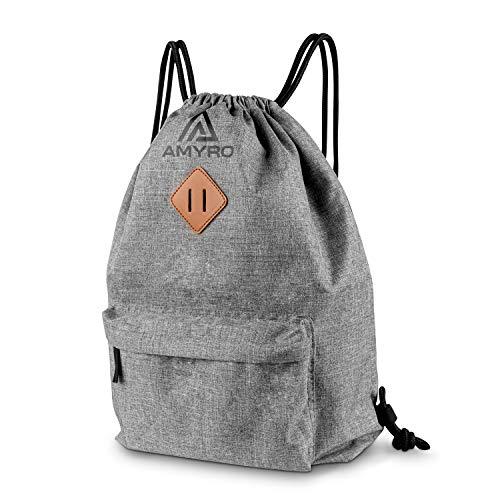 Amyro® Turnbeutel – Turnbeutel Damen & Herren aus 300D Leinen – Quick-Access Außentasche – wasserabweisend & robust – verstärkte Träger