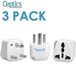 Ceptics India Travel Plug Adapter (Type D) for Pakistan, Nepal, Bangladesh - 3 Pack [Grounded & Universal] (GP-10-3PK)
