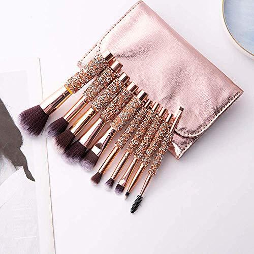 Makeup Brushes,Face Eyeshadow Brushes Kit,10 diamond-studde'd makeup brush set PU bag, creative loose powder eye shadow brush beauty tool LATT LIV