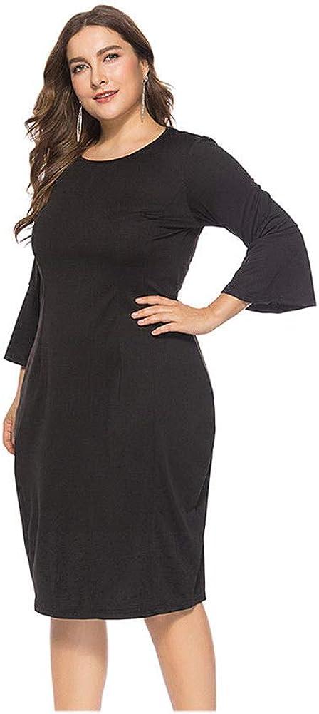 Janjunsi Women Elegant Plus Size Trumpet Sleeve A-Line Business Evening Dress