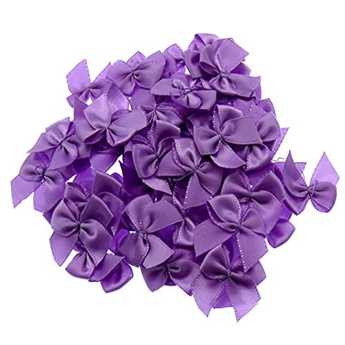 homeemoh 50 Pcs 10mm Mini Satin Ribbon Bows for Crafts, Small Hair Bows Satin Ribbon Bows for DIY Crafts Sewing Wedding Birthday Party Decoration,Purple