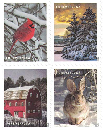 USPS Forever Stamps Winter Scenes - Book of 20 Postage Stamps