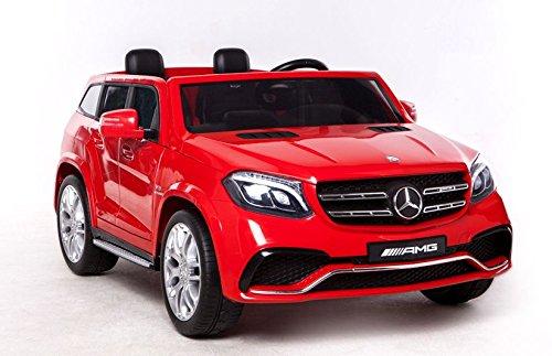 Mondial Toys Coche eléctrico para niños de 2 plazas Super SUV 2 baterías 12 V 4 x Motor Mercedes-Benz GLS63 AMG 4 x 4 AWD con asiento de piel ruedas de goma mando a distancia rojo