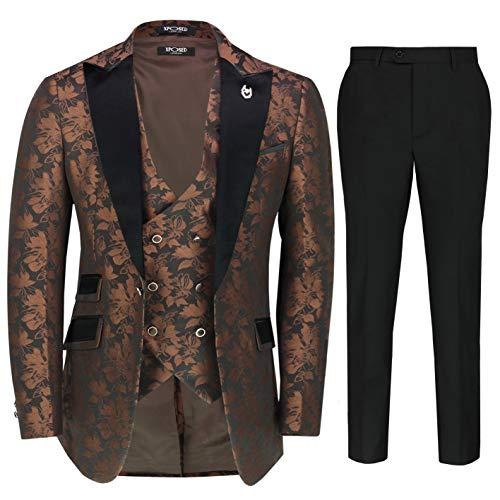 Traje de novio para hombre de 3 piezas de traje de boda clásico de cachemira ajuste a medida chaqueta de esmoquin chaleco pantalones