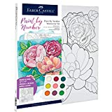 Faber-Castell Paint by Number Watercolor Bold Floral - Adult Paint by Number Kit on Canvas - DIY Flower Painting