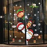 BENGKUI Weihnachten Aufkleber Fenster,Weihnachten Fenster Aufkleber Schneemann Elch...