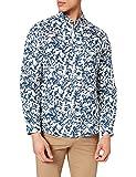 Springfield Camisa Lino Manga Larga, Estampado Azul, XXL para Hombre