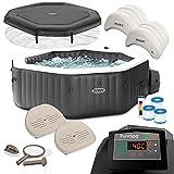 Intex Whirlpool PureSpa 28462 für 6 Personen, Bubble, Jet & Salzwassersystem Komplett-Set mit Extra-Zubehör wie: Reinigungsset, Getränkehalter, 2 Sitzkissen, 2 Kopfstützen, Chlor-Dosierschwimmer