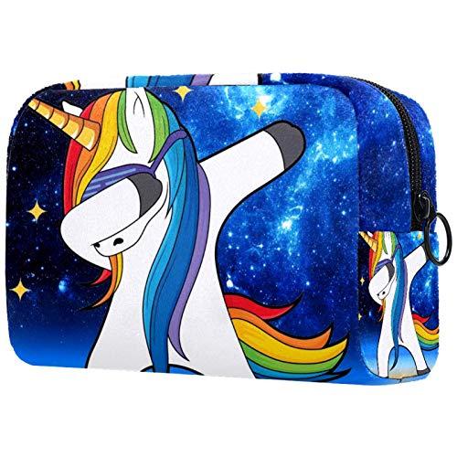 Geschenke für Männer Frauen Schminktasche Kulturbeutel Kleine Kosmetiktasche - Unicorn Dancing Starry Sky (7)