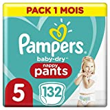 Couches Culottes Pampers Taille 5 (12-17 kg) - Baby Dry Nappy Pants, 132 culottes, Pack 1 Mois