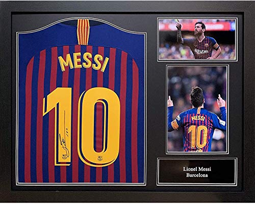 Allstarsignings Lionel Messi firmó y enmarcado camiseta de fútbol Barcelona con COA y prueba. Profesionalmente enmarcado y listo para colgar.