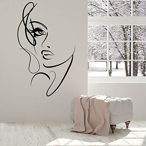 yaonuli Vinyl muurtattoo abstract vrouw gezicht mooie meisjes schoonheid salon decoratieve stickers