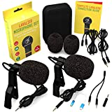 Lavalier Microphone 2 Pack Bundle - Omnidirectional Lapel Mic with Clip-On Suitable for iPhone, Android, Samsung, GoPro, DSLR - Professional Lapel Mic for YouTube and Vlogging