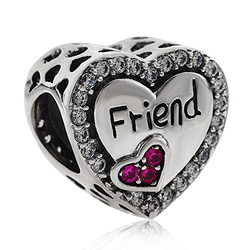 Friend Charm 925 Sterling Silver Friendship Charm Heart Charm Anniversary Charm for DIY