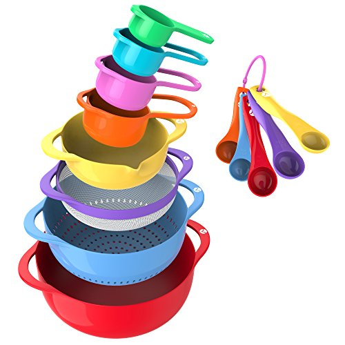 Vremi 13 Piece Mixing Bowl Set - Colorful Kitchen Bowls Colander Mesh Strainer with Handles...