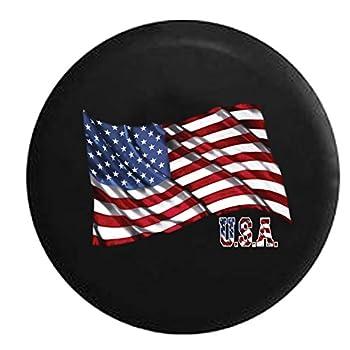 Spare Tire Cover Waving United States American Flag USA fits SUV Rubicon Sahara Liberty H2 CRV Rav4 & RV Accessories 32 Inch