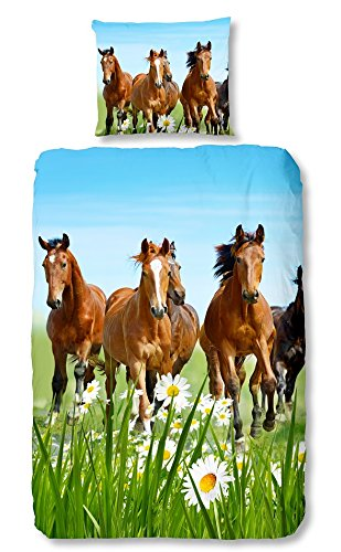 Goodmorning 5316 Dekbed Paarden: 140X220/60X70 cm