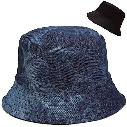 Malaxlx Damen Dunkel Blau Denim Fischerhüte Sonnenhut Strandhut Fishermütze Sommerhut Draussenhut Faltbarer Reversibel