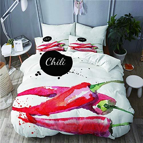 LISNIANY Duvet Cover,Hand gezeichnete Aquarell Illustration von Chili Pepper Spicy Ingredient,Mikrofaser Bettbezug 240 * 260cm 2 Kissenbezug 50 * 80cm