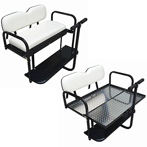 Performance Plus Carts Club Car DS Golf Cart Rear Flip Back Seat Kit for 1982-2000.5 - Factory White