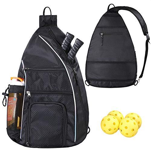 LLYWCM Sling Bag | Pickleball Bag - Reversible Crossbody Sling Backpack for Pickleball Paddles, Tennis, Pickleball Racket and Travel for Women Men (Black)