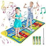 joylink Alfombra de Piano, Alfombra Musical Teclado Alfombra Musical para Niños Alfombra Musical de Teclado 10 Teclas y 8 Instrumentos de Animales para Bebé Niño Niña (130*48cm) (Azul)