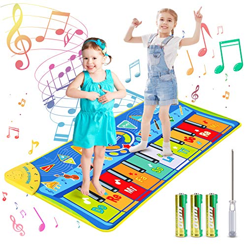 Kids Musical Mats, Vimpro Musical Piano Mat 19 Keys Keyboard Play Mat Children Foot Touch Play for Kids Baby Girls Boys Educational Toy - 50.7'' X18.9''