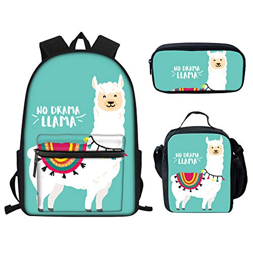 Showudesigns Cute Bookbags and Lunch Boxes for Girls Llama Alpaca Print Kids Backpack School Bag with Lunch Bag Small Zipper Pencil Case for Primary Elementary Teens Green