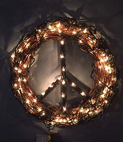 Lighted Peace Sign Wreath