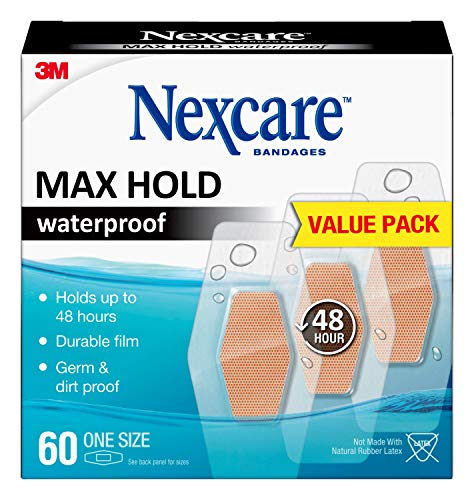 Nexcare Max Hold Waterproof Bandages Cream, 60 Count