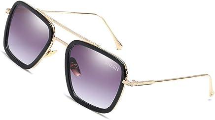 40ab45d78f1ee SHEEN KELLY Retro Gafas de sol Marco de metal para hombres mujeres Gafas de  sol Iron