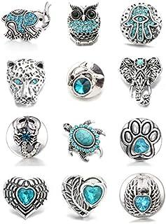 Lovglisten New 12pcs Snaps Jewelry 18MM Animal Shape Snap Jewelry Charms (SkyBlue-1)