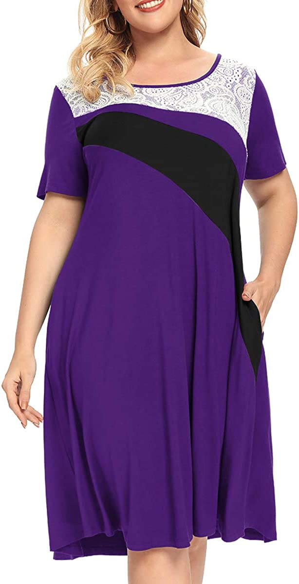 MONNURO Womens Short Sleeve Color Block Lace Cover Casual Loose Swing A-line Plus Size Shirt Tunic Dress with Pockets