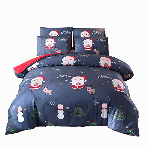 ADASMILE A & S Christmas Duvet Cover Set Queen Cartoon Santa Bedding Set Xmas Home Decor Kids