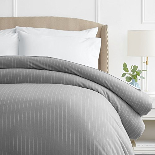 Pinzon 160 Gram Pinstripe Flannel Cotton Duvet Cover, King,...