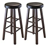 "Marta Set of 2 Bar Stool with Dark Brown PU Leather Cushion with Antique Walnut Solid Wood Legs Fully assembled stands at 13.58""W x 13.58""D x 30.31""H Perfect for any room in the house Fully Assembled Seat diameter is 13"" with cushion of 2.30"" thick"