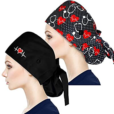 Fesciory Adjustable Working Caps with Button & Sweatband, Women Ponytail Pouch Hats, Long Hair