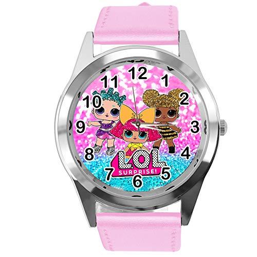 Taport®-Armbanduhr, analoge Quarzuhr mit Echtlederband, rund, für LOL-Puppenfans, Rosa