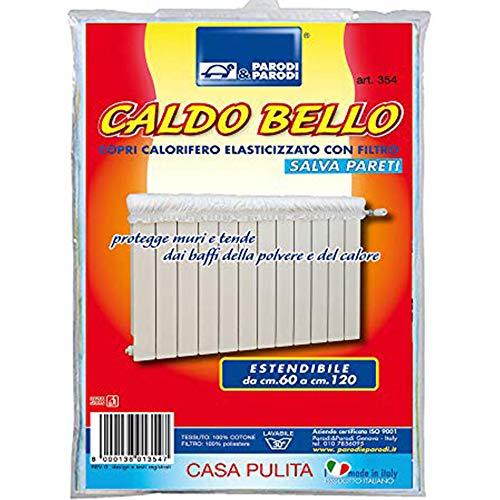 Parodi & Parodi Il Caldo Bello - Protector de Paredes Artículo 354, Cubre radiador elástico Acolchado, Extensible de 60 cm a 120 cm, con Filtro Absorbe Polvo, de algodón Color Marfil