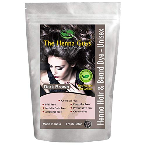 1 Pack Dark Brown Henna Hair & Beard Color/Dye 100 Grams - Chemicals Free Hair Color - The Henna Guys