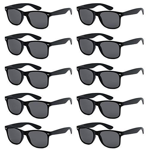 FSMILING Nerd Bunt Party Sonnenbrille Lustige Retro Neon Kinder Damen Herren Party Brille Set (10 Stück schwarz)