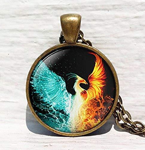 Feuer und Wasser Halskette, Phoenix Art Halskette, Phoenix, Hand Zeichnen