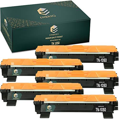 EMBRIIO 5X TN-1050 TN1050 Cartucho Tóner Reemplazo para Brother HL-1110 HL-1112 DCP-1510 DCP-1512 DCP-1610W DCP-1612W HL-1210W HL-1212W MFC-1810 MFC-1910W