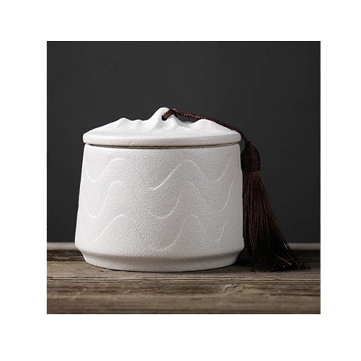 ピストンナットベギンアッシュ缶 骨壷|纳骨壺|分骨壺火葬記念箱強いシールスクラブ織り目加工のセラミック家族のお土産マスストレージ大人やペットの灰 (Color : White)